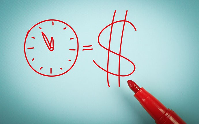 "pen draws a clock and a dollar sign for ""Time equals money"""