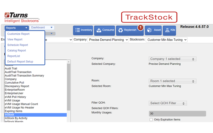 Screenshot of eTurns TrackStock and the 55 standard and customized reports.